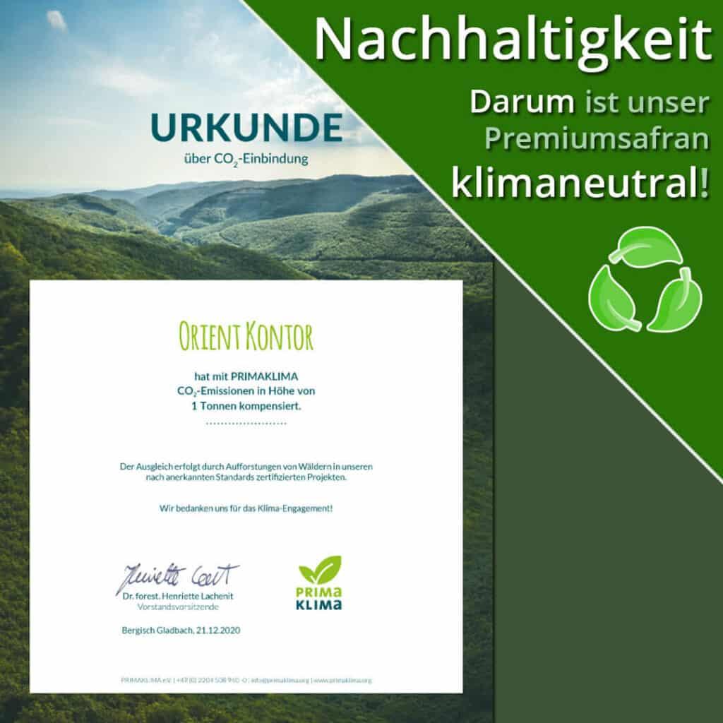 Zertifikat klimaneutral PrimaKlima