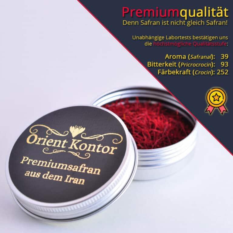 Premiumsafran in einer Aluminiumdose